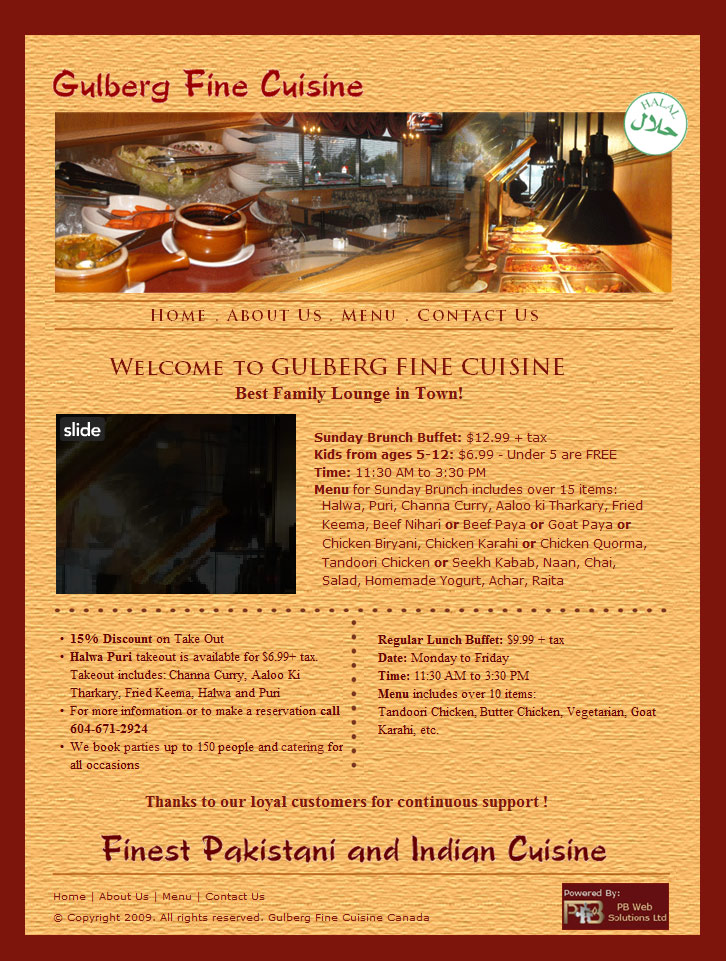 PB Web Solutions Ltd sample website design, Gulberg Indian and Pakistani Restaurant