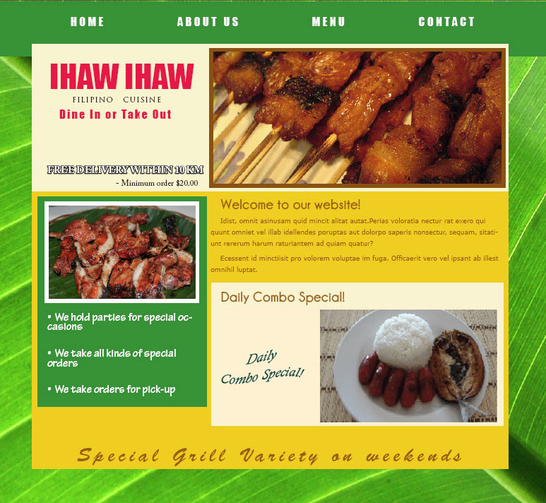PB Web Solutions Ltd sample website design, Ihaw - ihaw Filipino Restaurant
